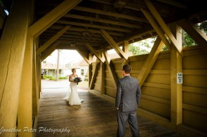 Wedding, red covered bridge